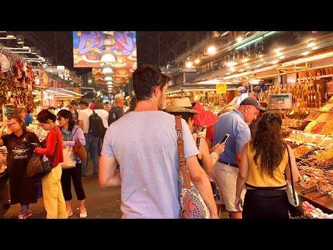BARCELONA WALK | La Boqueria Famous Indoor Food Market | Spain