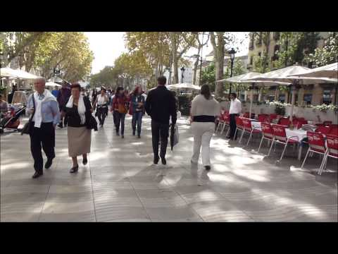A Walk along La Rambla of Barcelona from Pl. Catalunya to the Port, including Boqueria