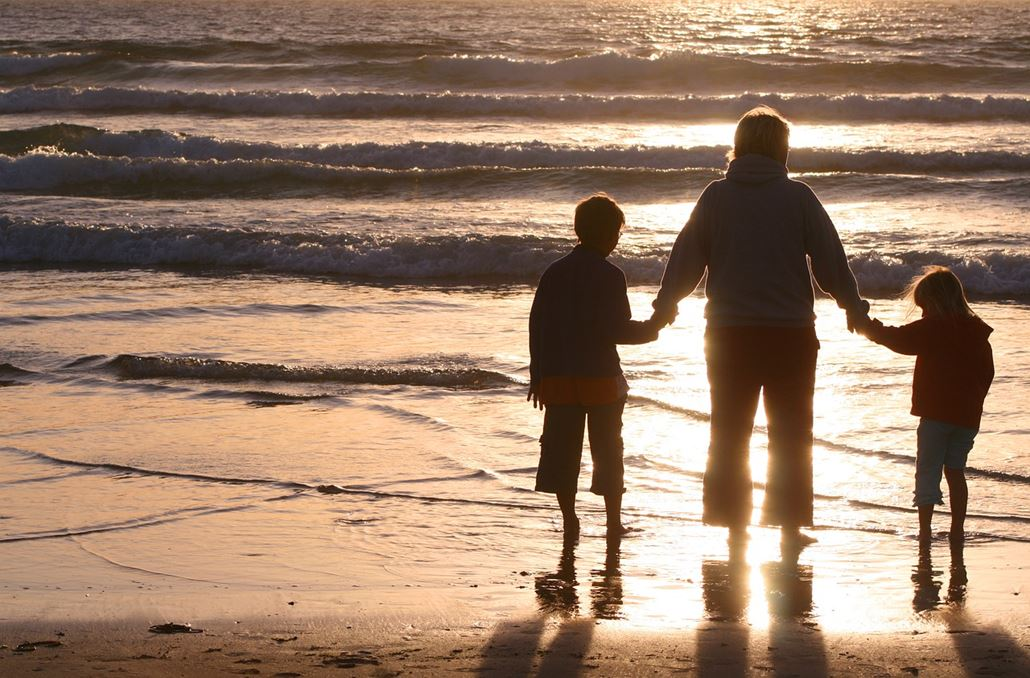 Familie Strand Meer