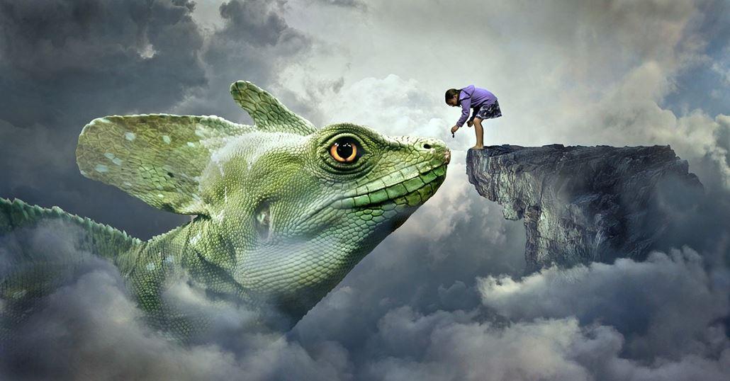 Grüner Drachen mit Kind