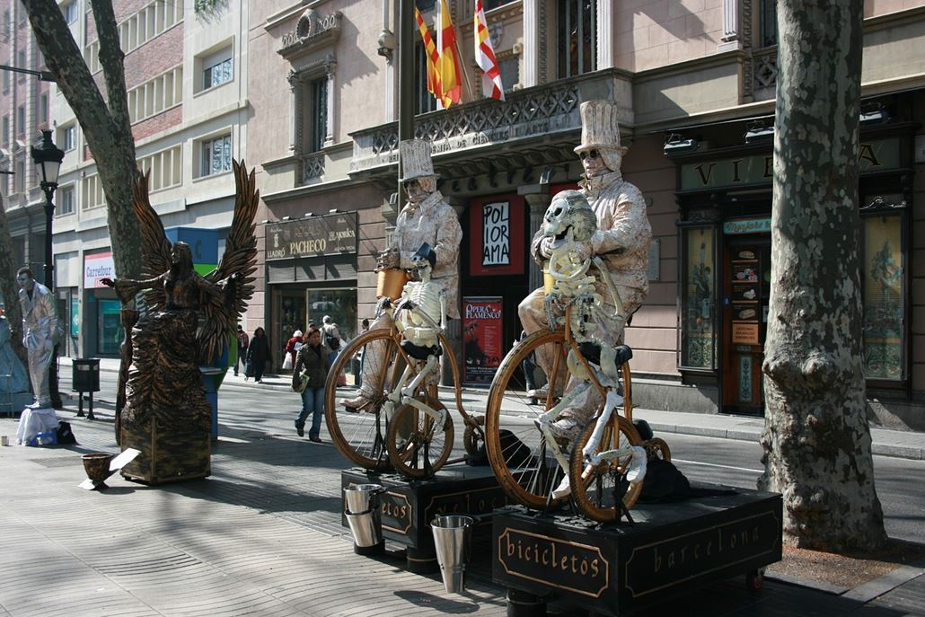 Straßenkünstler La Rambla Barcelona