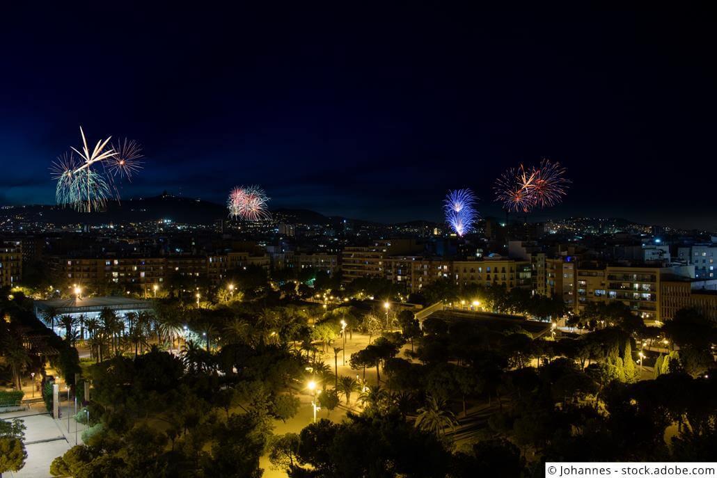 Silvester-Feuerwerk-Barcelona